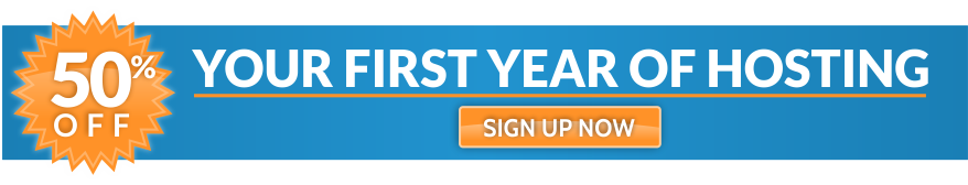 Half off first year of hosting