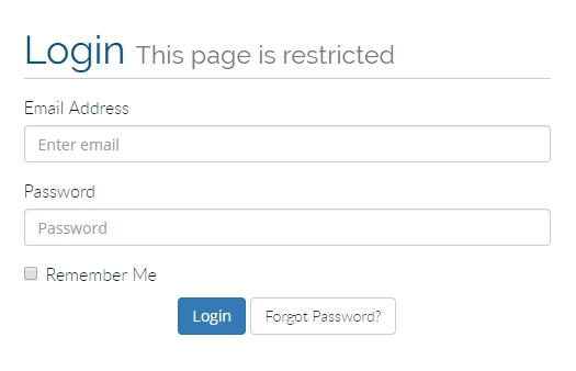 login page screen shot