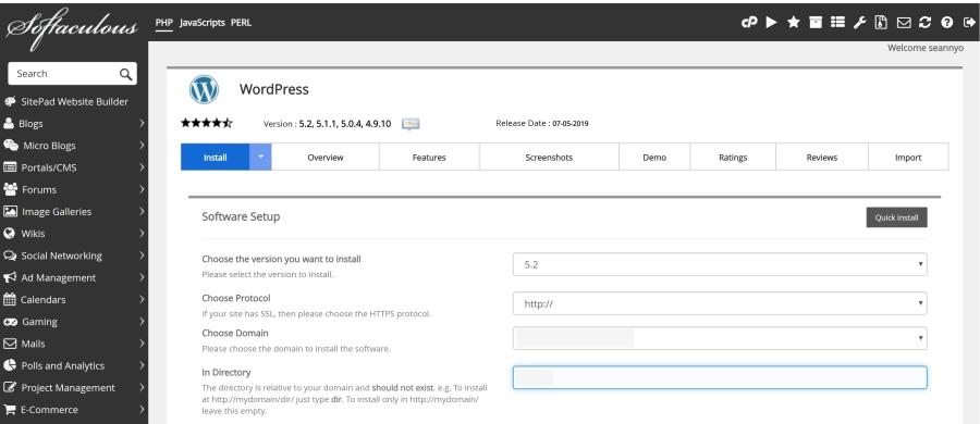 Softaculous WordPress install Screen Shot